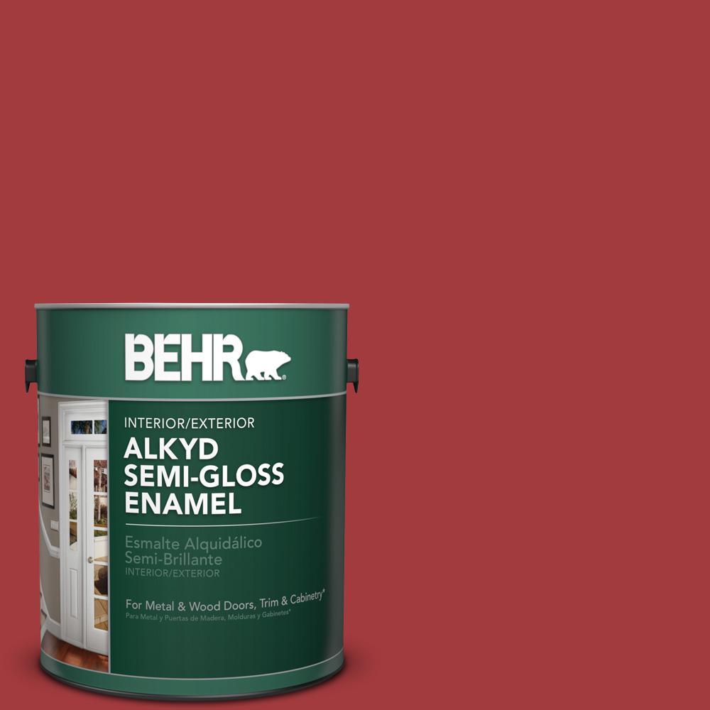 1 gal. #PFC-03 Red Baron Semi-Gloss Enamel Alkyd Interior/Exterior Paint