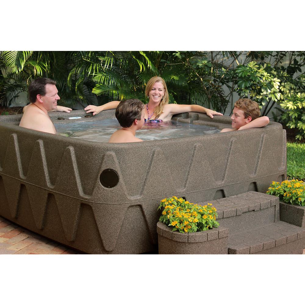 AR-500 5-Person Lounger Spa with 19 Jets in Stainless Steel and