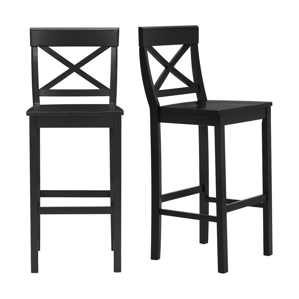 Cedarville Black Wood Bar Stool with Cross Back (Set of 2) (19.42 in. W x 44.15 in. H)
