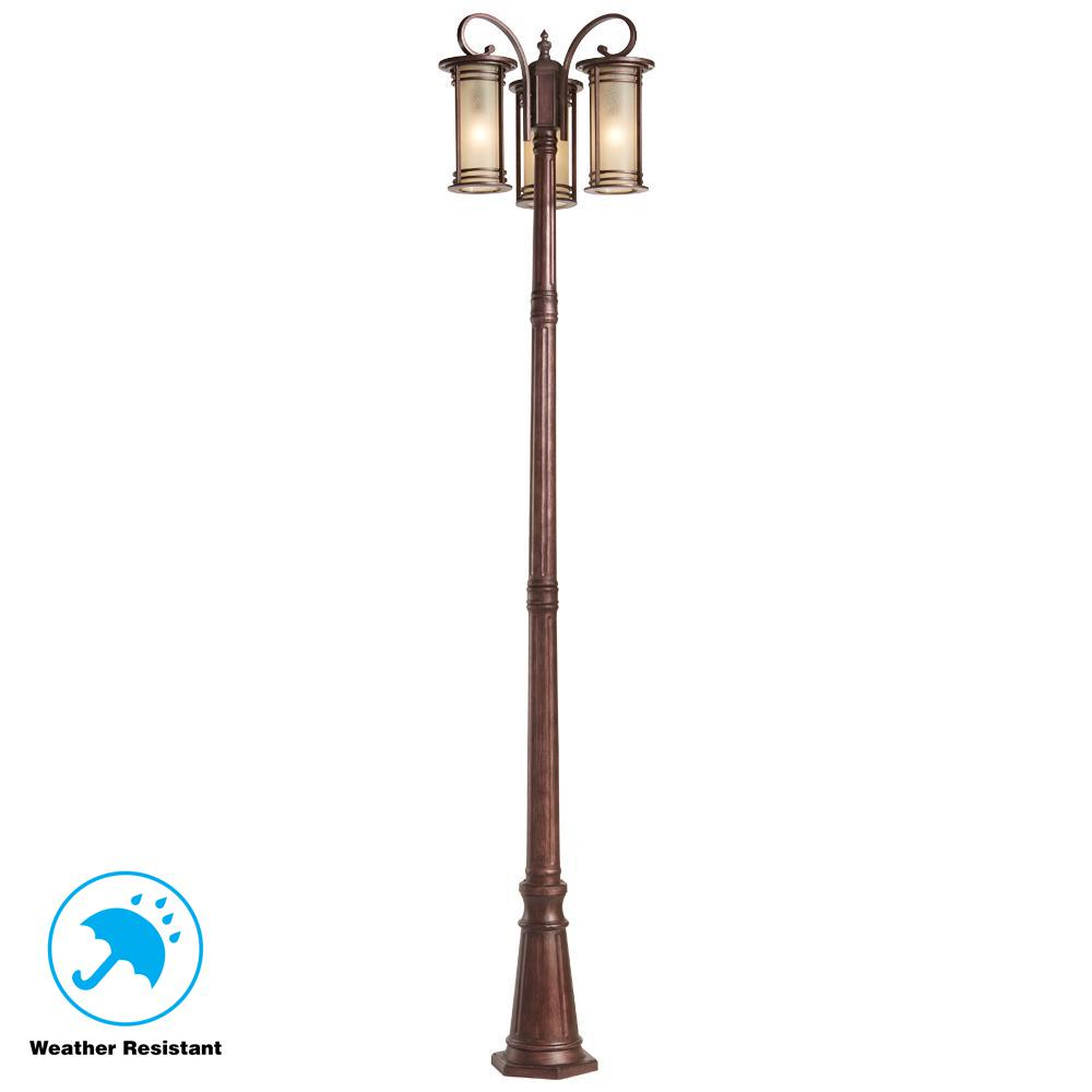 Outdoor Post Lights At Home Depot: Home Decorators Collection 3-Light Bronze Outdoor Post