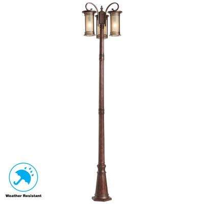 3-Light Bronze Outdoor Post Light with Amber Glass