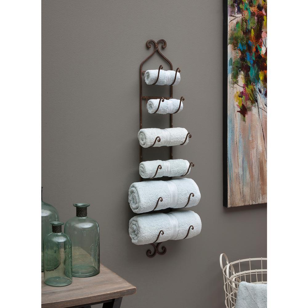 Rustic Towel/Wine Rack Brown Towel and Quilt Rack by