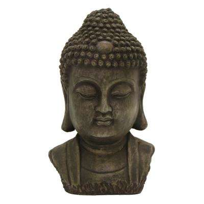 11 in. Resin Buddha Head Decoration in Gray