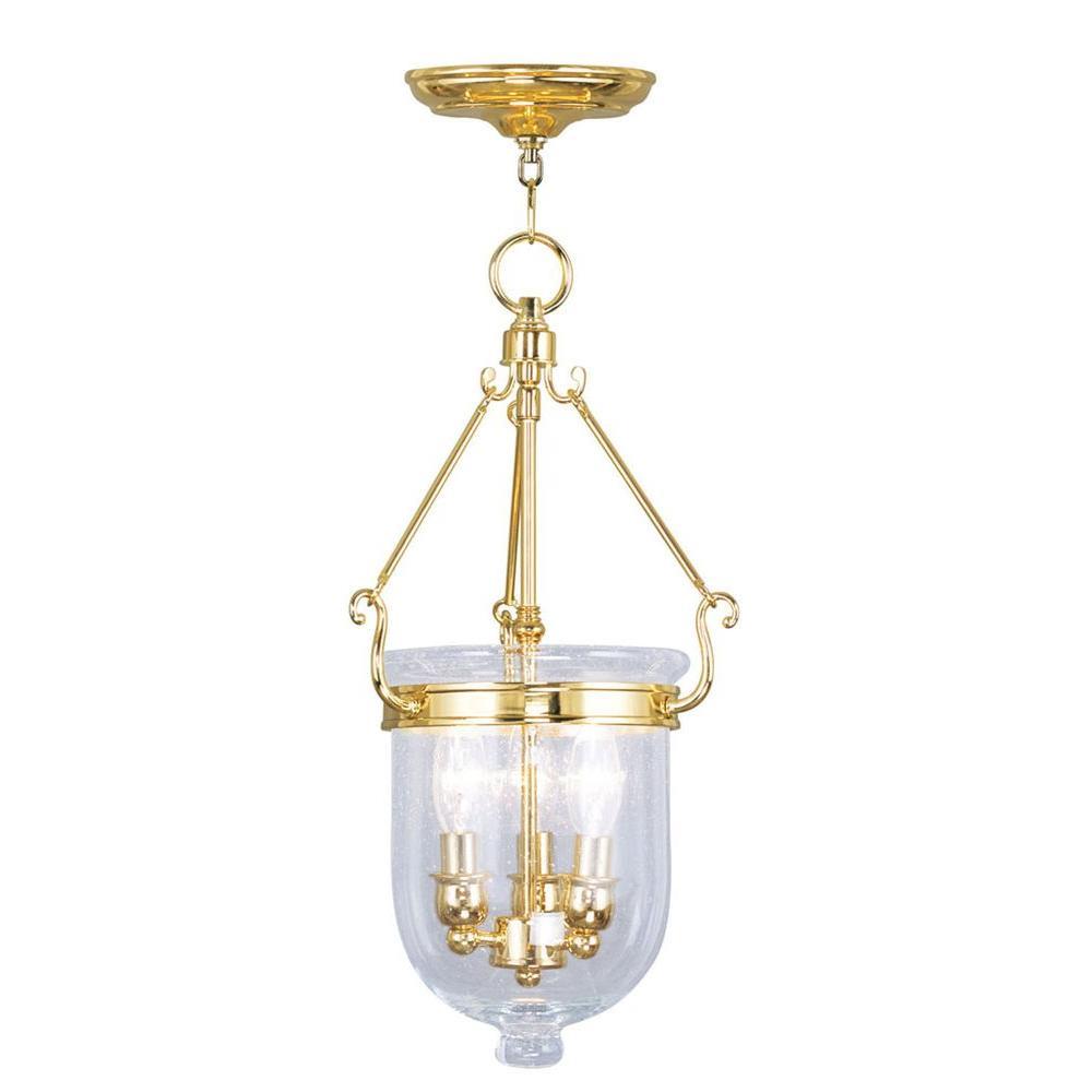 Providence 3-Light Polished Brass Incandescent Ceiling Pendant