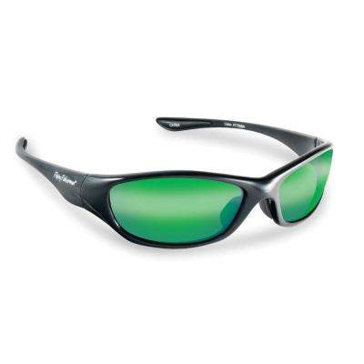 Cabo Polarized Sunglasses in Black Frame with Amber Green Mirror Lens