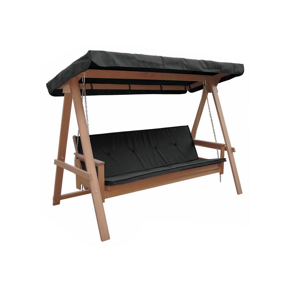 Lautan Avoca 3-Person Wood Porch Swing with Black Cushion