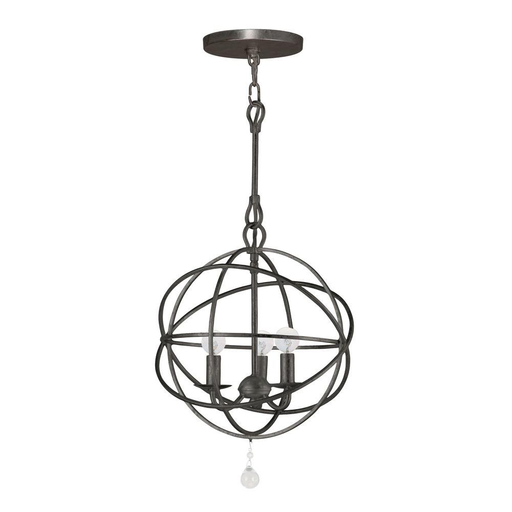 Solaris Collection 3-Light English Bronze Indoor Orb Chandelier