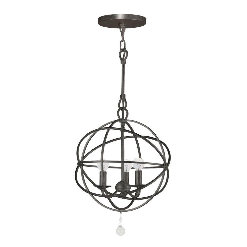 Solaris Collection 3-Light English Bronze Indoor Orb Chandelier
