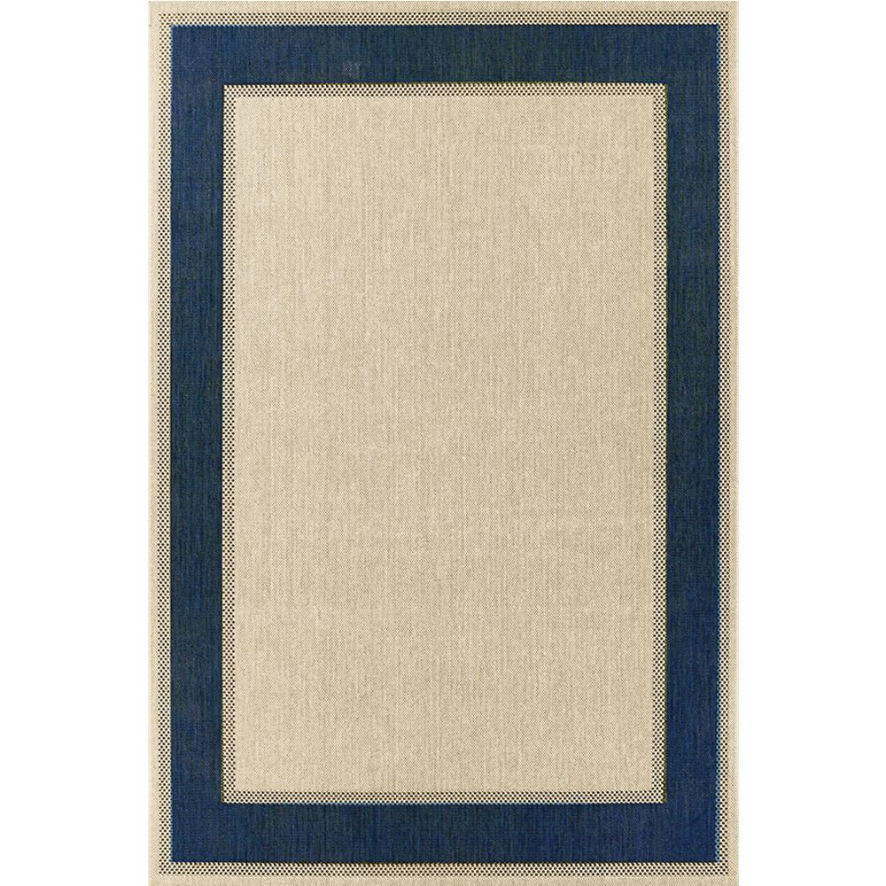 Border Tan Blue 7 ft. x 11 ft. Indoor/Outdoor Area Rug