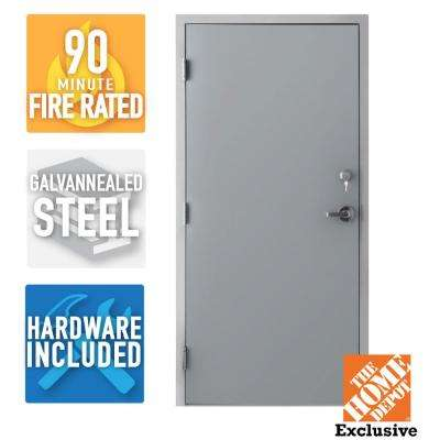 36 In. X 80 In. Fire Rated Gray Right Hand Flush Steel