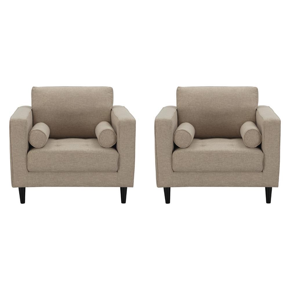 Manhattan Comfort Arthur Tan Brown Tweed Armchairs Set Of 2 2