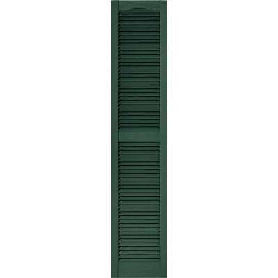 15 in. x 72 in. Louvered Vinyl Exterior Shutters Pair in #028 Forest Green