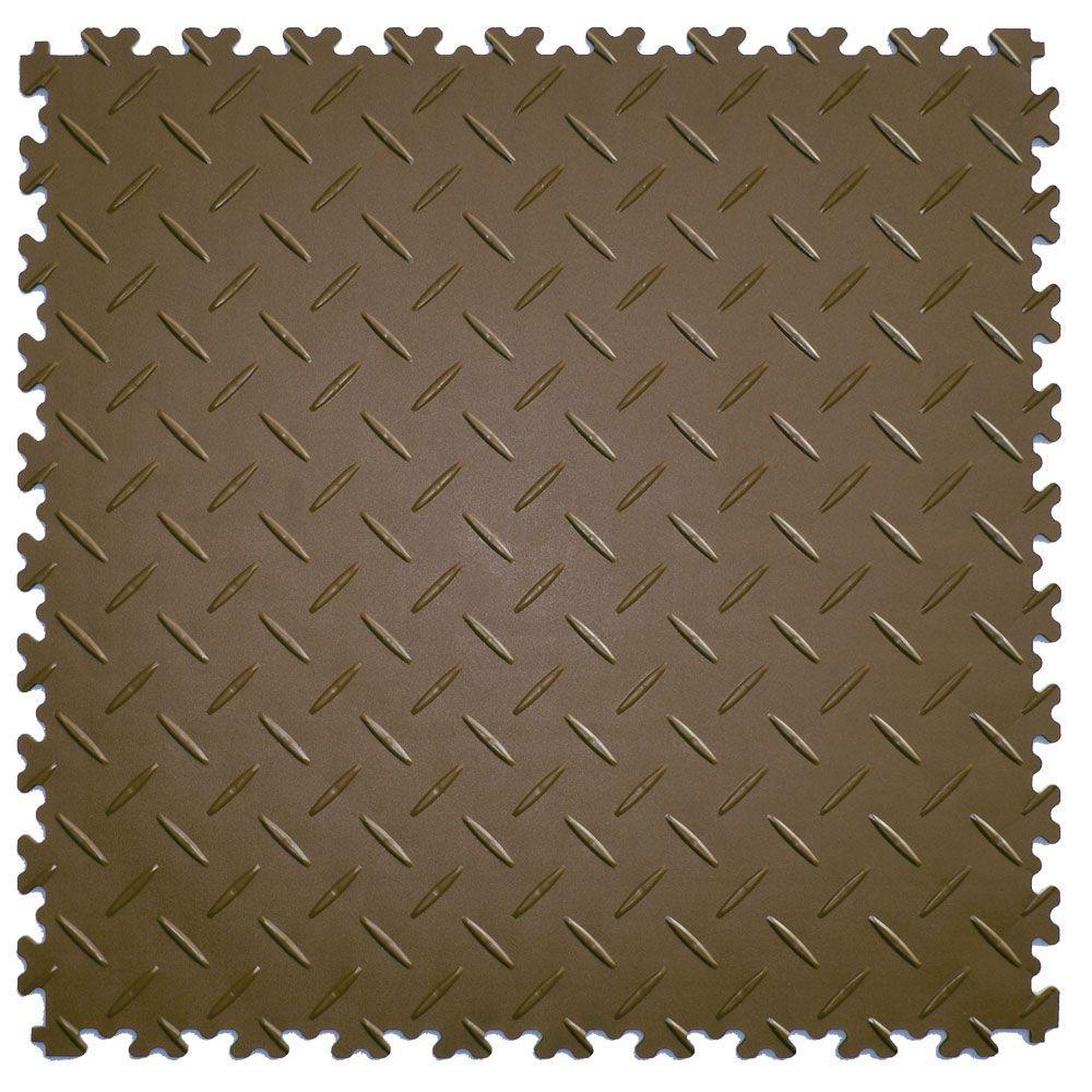 IT-tile 20-1/2 in. x 20-1/2 in. Diamond Plate Tan PVC Interlocking Multi-Purpose Flooring Tiles (23.25 sq. ft./case)