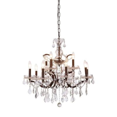 Elena 12-Light Rustic Intent Royal Cut Crystal Clear Pendant