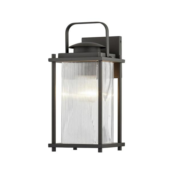 James Bay 1-Light Bronze Wall Sconce with Clear Ribbed Glass Shade