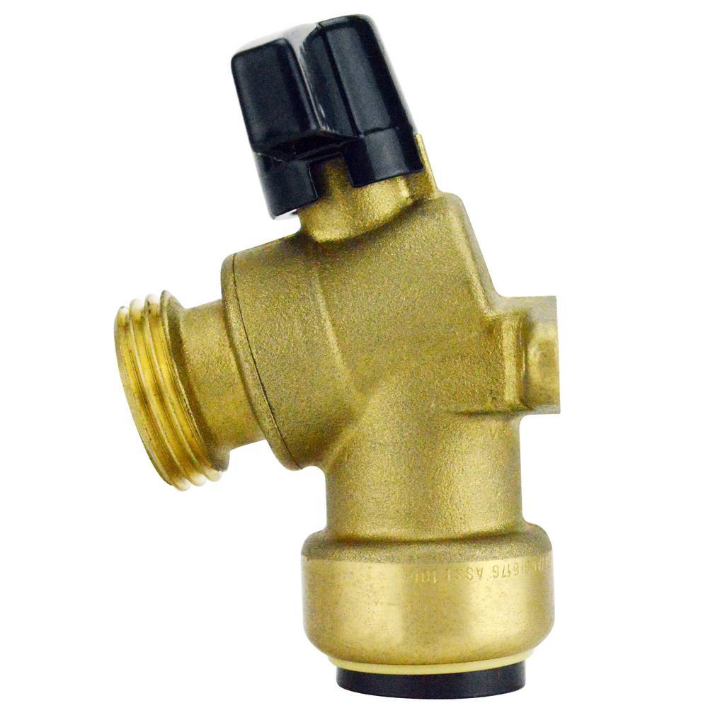 Tectite 3/4 in. Brass Push-to-Connect x 3/4 in. Garden Hose Thread Quarter-Turn Garden Valve with Drop Ear