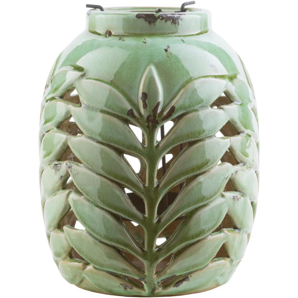 Dulce 8.7 in. Grass Green Ceramic Lantern