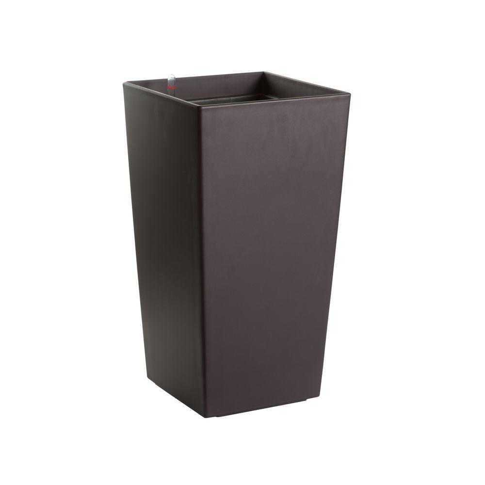Algreen Modena 22 in. Square Matte Mocha Plastic Self Watering Planter