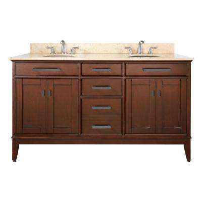 Madison 61 in. W x 22 in. D x 35 in. H Vanity in Tobacco with Marble Vanity Top in Galala Beige and White Basins