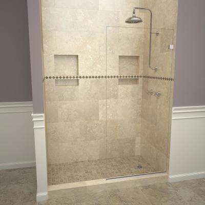 2000V Series 24 in. W x 76 in. H Semi-Frameless Fixed Shower Door in Polished Chrome Without Handle