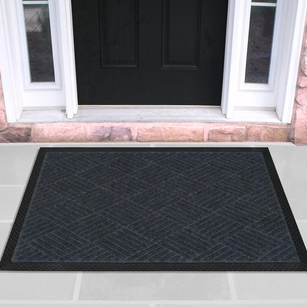 Ottomanson Charcoal 24 In X 36 In Ribbed Carpet Natural