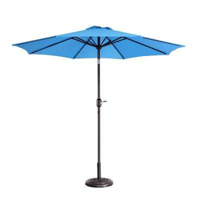 9 ft. Aluminum Market Auto Tilt Patio Umbrella in Blue