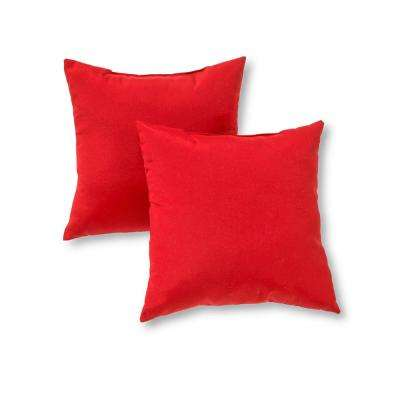 Solid Salsa Red Square Outdoor Throw Pillow (2-Pack)