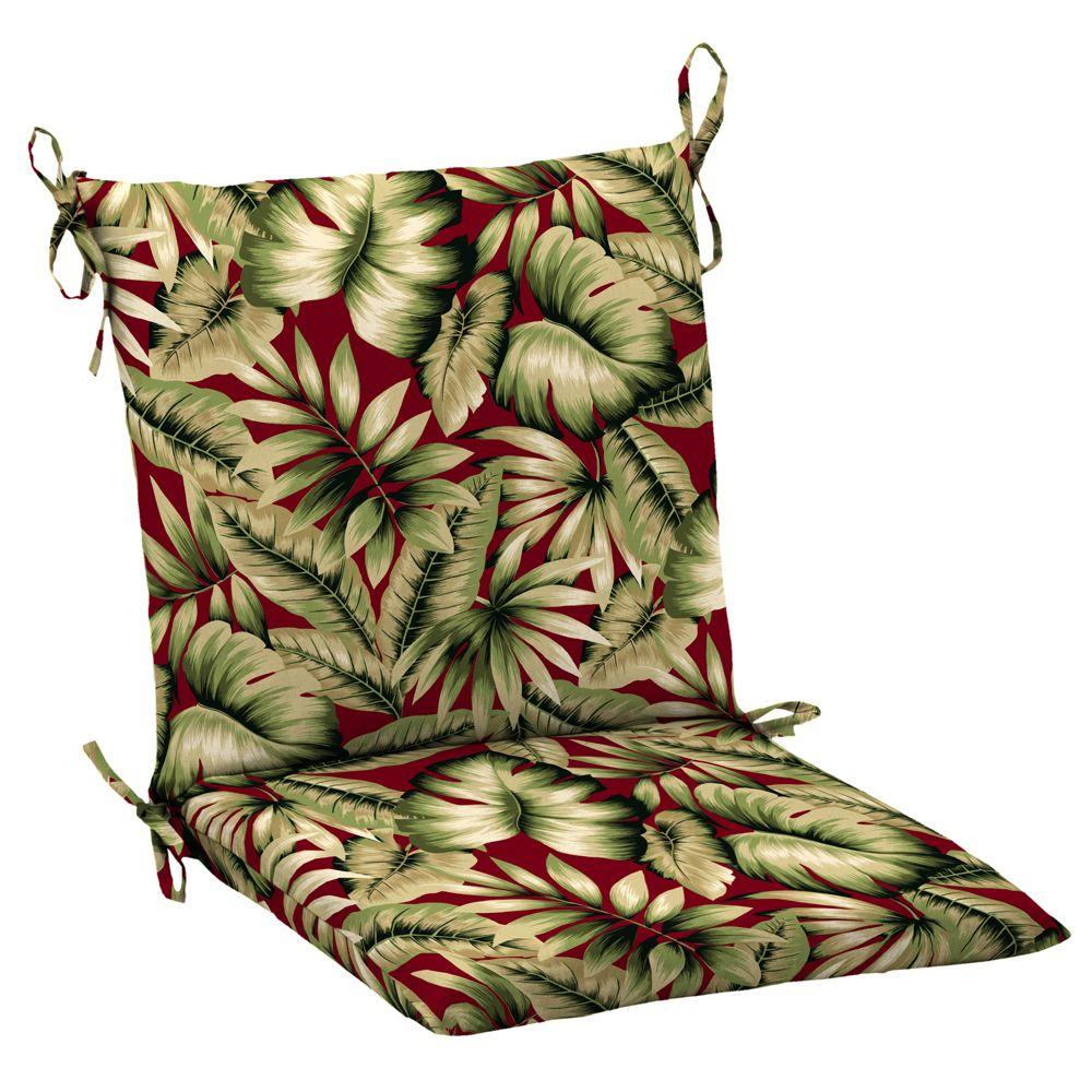 Hampton Bay Chili Tropical Mid Back Outdoor Chair Cushion
