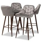 Catherine 29.5 in. Grey and Walnut Bar Stool (Set of 4)