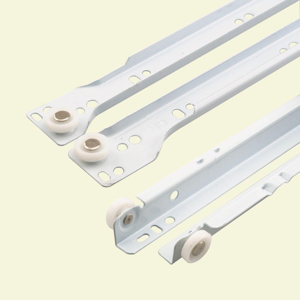 17-3/4 in. White Painted Steel Bottom-Mount Self-Closing Drawer Slides