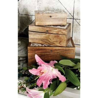 Rectangular Mango Wood Boxes with Carved Butterfly Designed Lid (Set of 3)