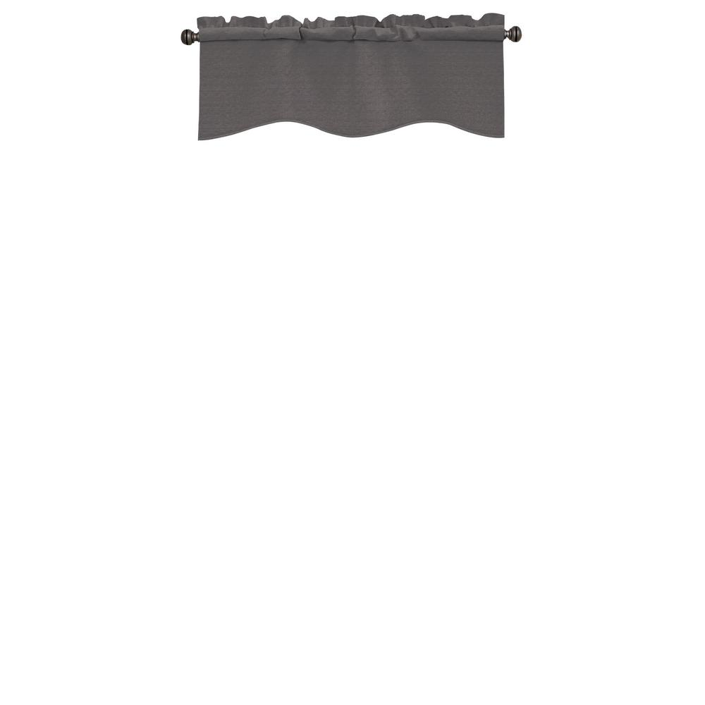 Kendall Wave Polyester Curtain Valance in Charcoal - 42 in. W