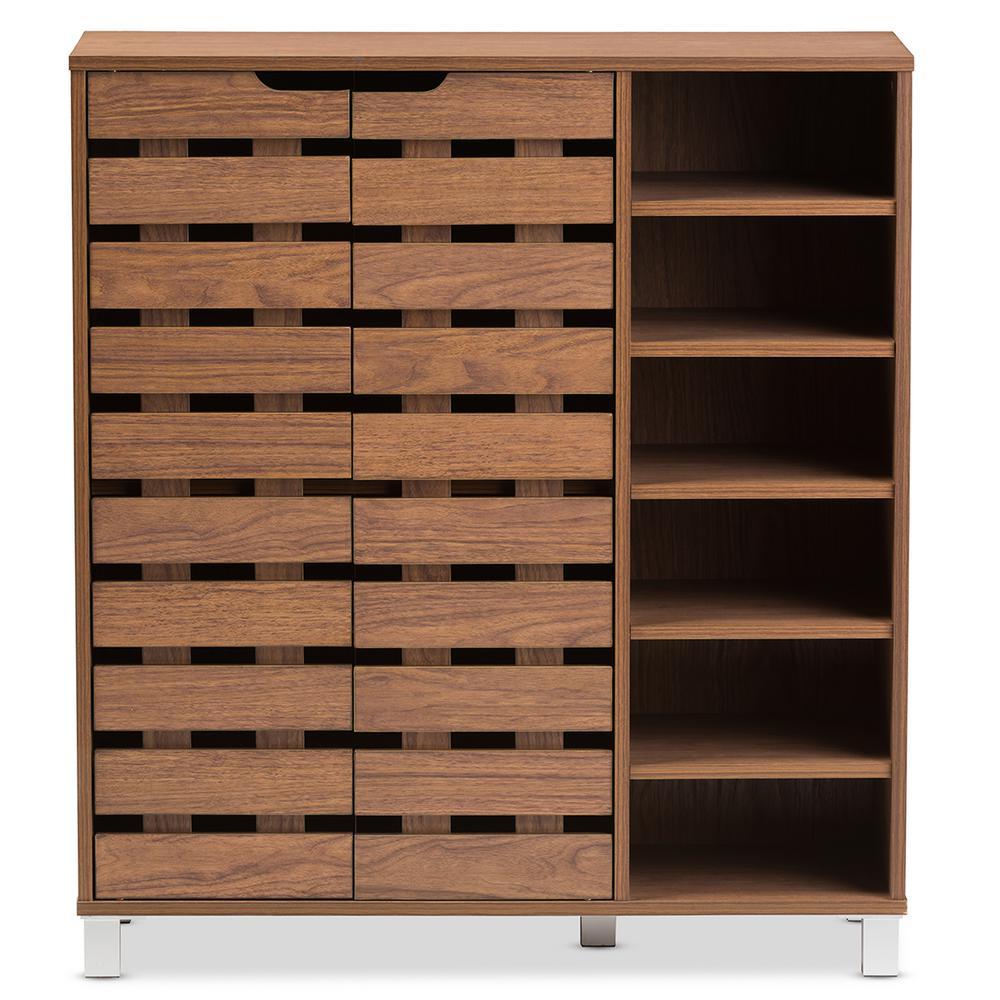 18-Pair Shirley Medium Brown Wood  Storage Shoe Organizer