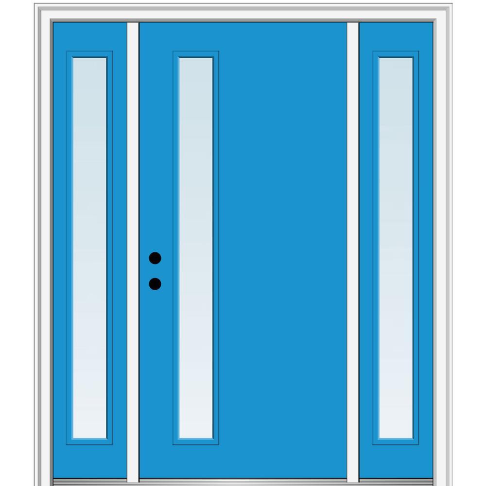 MMI Door 68.5 in. x 81.75 in. Viola Right-Hand Inswing 1-Lite Clear Low-E Painted Fiberglass Prehung Front Door with Sidelites