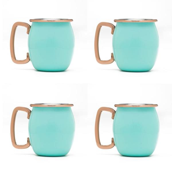 Fiesta 2 oz. Turquoise Stainless Steel Moscow Mule Shots (4-Pack) 92229JDS
