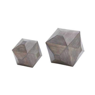 Multi-Faceted Geometric Iron Table Sculptures (Set of 2)