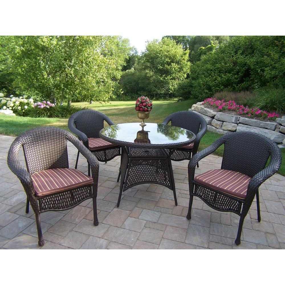 Oakland Living Elite Resin Wicker 5 Piece Patio Dining Set With Cushions 90045 5 Cf Cubr The