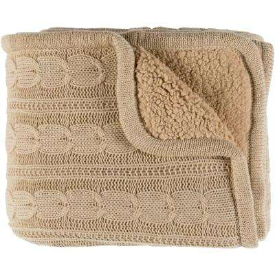 Shae Beige Polyester Blend Throw