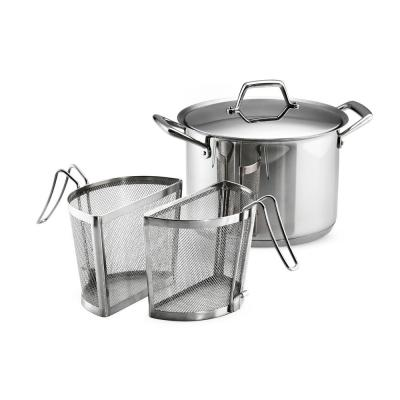 Gourmet Prima 8 qt. Stainless Steel Stock Pot with Lid and Pasta Inserts