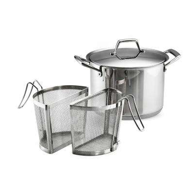 Gourmet Prima 8 Qt. Stainless Steel Stock Pot with Pasta Inserts and Lid