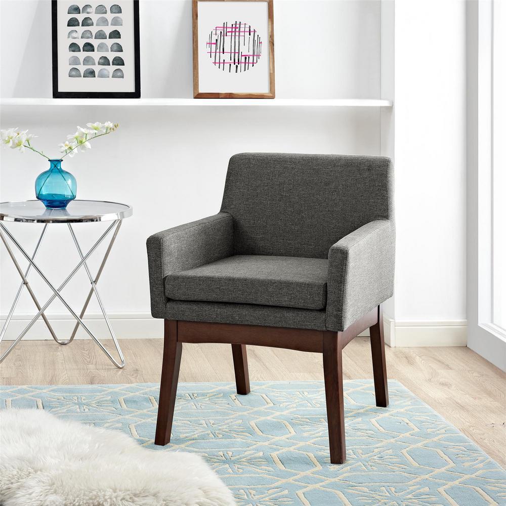 Dorel Living Brook Lane Gray Mid-Century Accent Chair