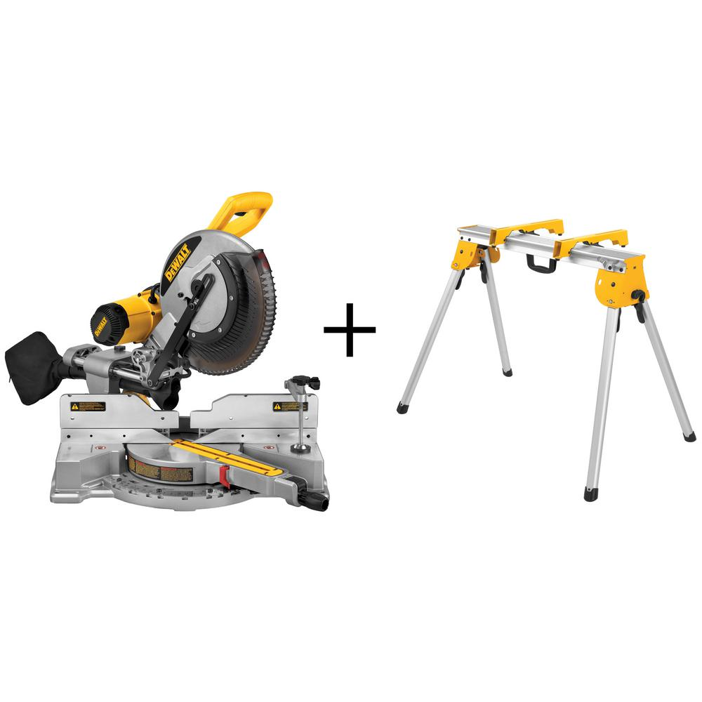 dewalt 15 amp 12 in dual bevel sliding compound miter saw with bonus heavy duty work the home depot