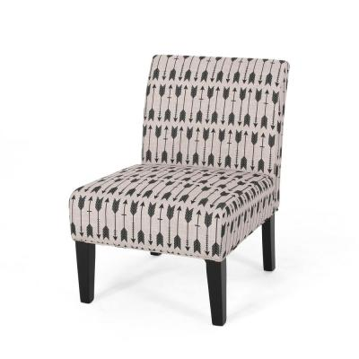 Hazelton Beige and Matte Black Upholstered Accent Chair