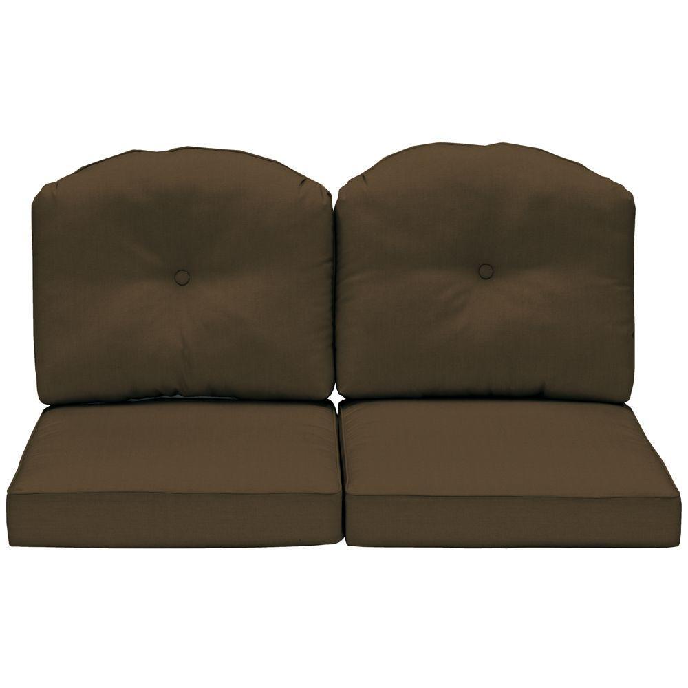 Arden Morgan Classic Canvas Teak Outdoor Loveseat Cushion-DISCONTINUED
