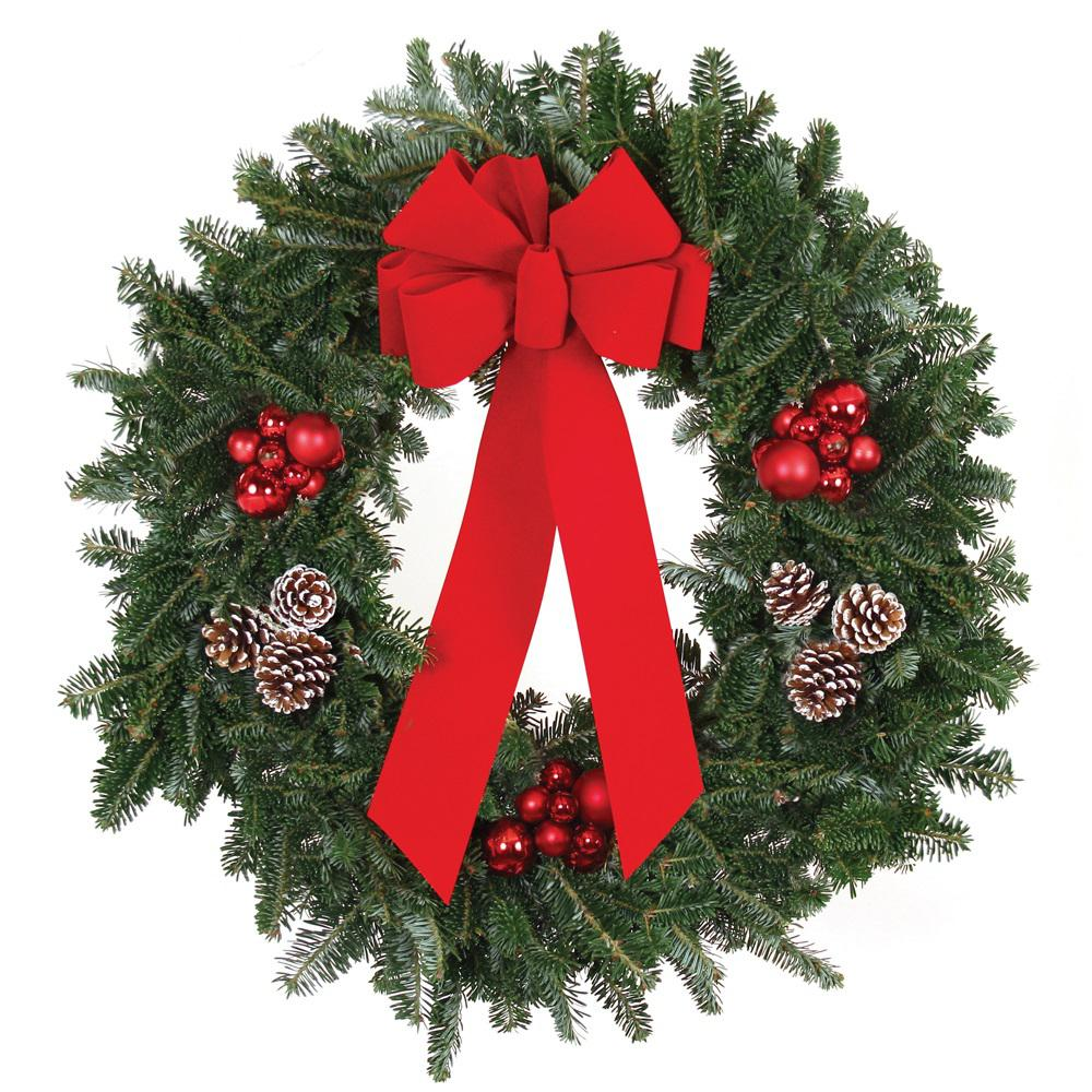 live fraser fir christmas wreath with red bow red ornaments and frosted pinecones