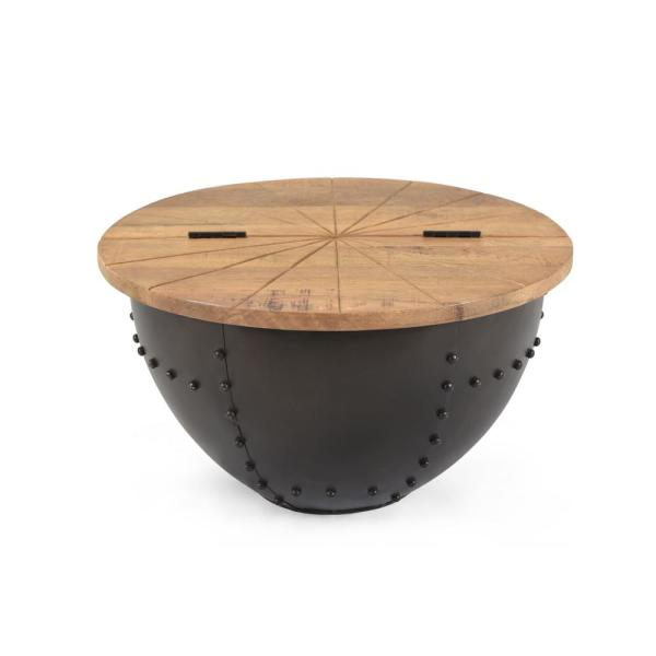 Noble House Absecon Natural Brown And Black Round Storage Coffee Table 69747 The Home Depot