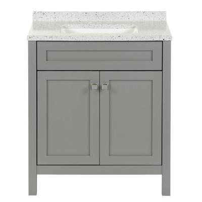 Maywell 30.5 in. W x 18.75 in. D Vanity in Sterling Gray with Solid Surface Vanity Top in Silver Ash with White Sink
