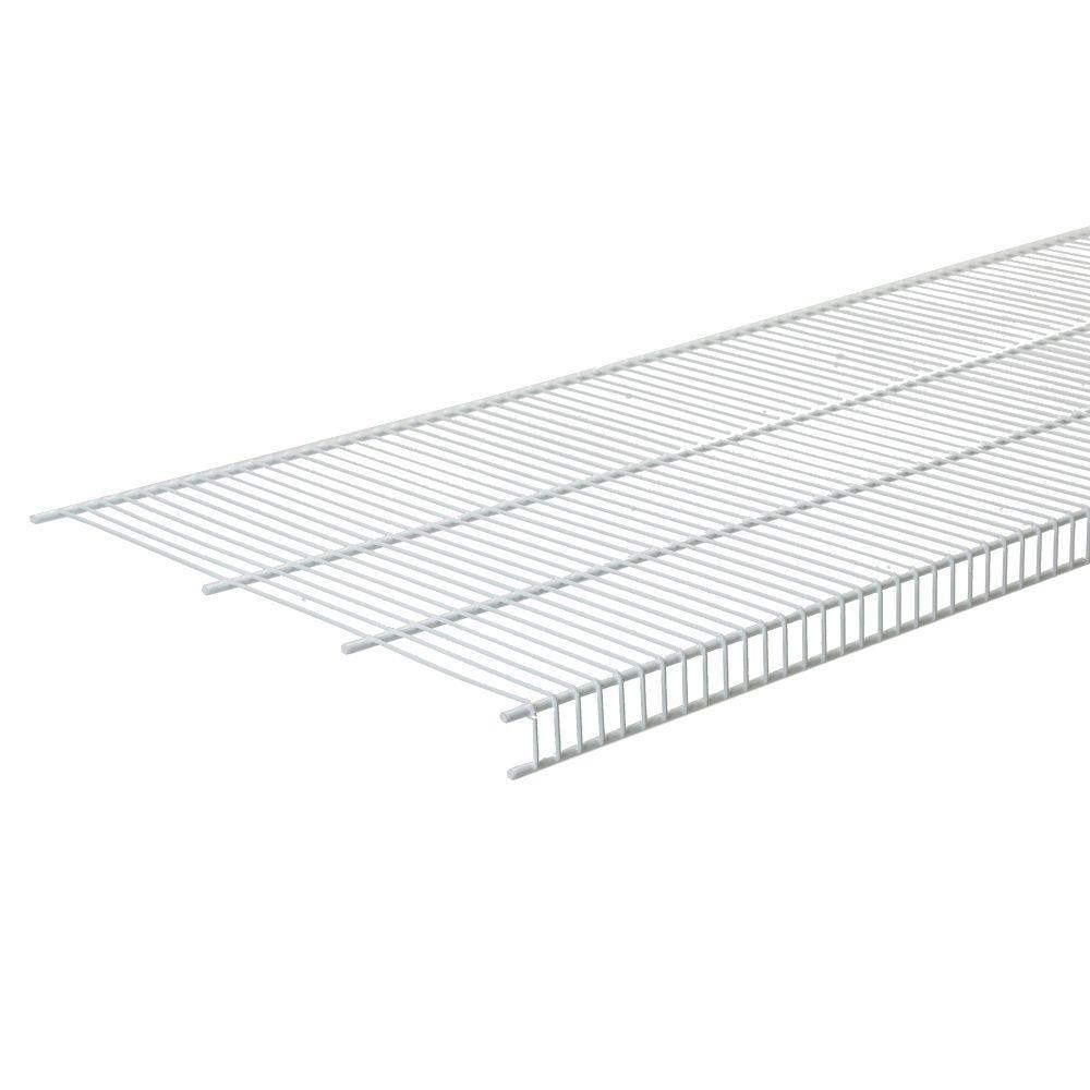 Closetmaid Superslide 12 In D X 72 In W X 1 4 In H White Ventilated Wire Wall Mounted Shelf 4717 The Home Depot