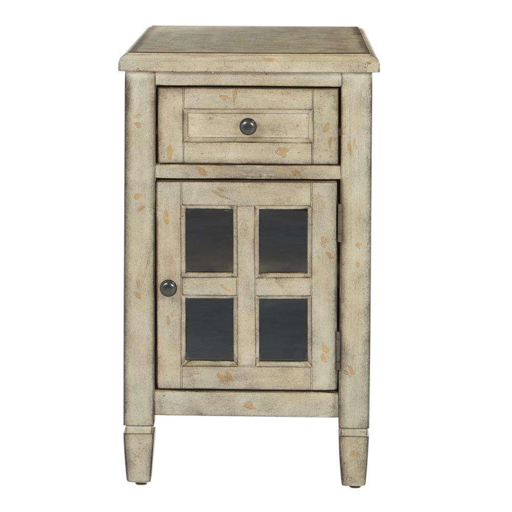 Inspired By Bassett Drayton Side Table With Power In Gold Stone