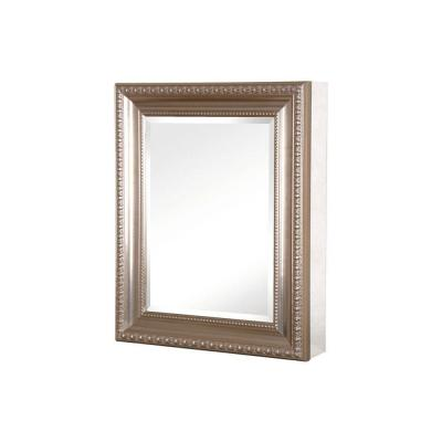24 in. W x 30 in. H Framed Recessed or Surface-Mount Bathroom Medicine Cabinet with Deco Framed Door in Brushed Nickel
